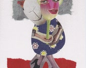 Printed Collage Art Card - Behind The Mask