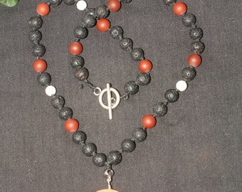 Devotional Necklace for Hestia - Fire Agate, Black Larva, Carnelian & Riverstone - Goddess of Hearth and Home - Pagan, Wicca,