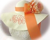 Monogrammed Off White Cream Floppy Hat NEW ITEM & Gorgeous,  Bride, Wedding, Honeymoon Bridesmaids, Sun, Beach, Derby, Cup Race,