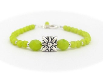 Lime Green Bracelet, Minimal Bracelet, Friendship Bracelet, Flower Bracelet, Hawaiian Jewelry, Hawaii Jewelry, Bridesmaid Gift