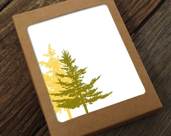 blank note card set / evergreen trees
