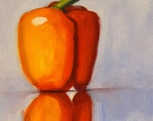 Still Life Pepper Oil Painting, Orange Vegetable, Original Small 6x8 Canvas, Kitchen Wall Decor, Food, Blue, Minimalist, Reflection
