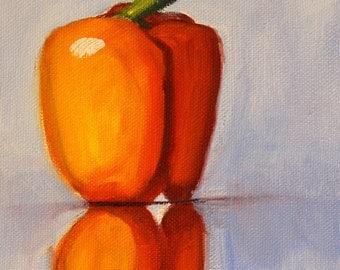 Still Life Pepper Oil Painting, Orange Vegetable, Original Small 6x8 Canvas, Kitchen Wall Decor, Food, Blue, Minimalist, Reflection