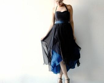Gothic wedding dress, Goth wedding dress, Alternative wedding dress, Boho dress, Blue dress, silk dress, steampunk dress, Blue wedding dress