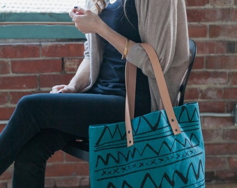 LAST ONE-Teal Arches Hand Dyed Canvas Triangle Tote Bag