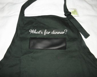 """Green Apron BBQ Chalkboard APRON Embroidered 30"""" With USABLE Chalkboard What's for dinner - Ready to Ship"""