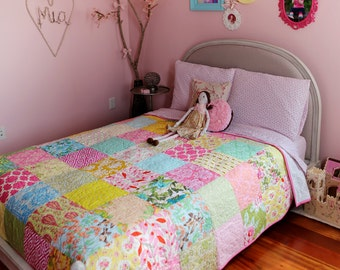 86' Square Custom Bed Sized Patchwork Quilt Featuring Your Choice From Available Fabrics.  Professionally Quilted. Bedding, Queen Blanket.