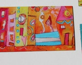 """NEW Mini Magnet by """"Life is a Beach"""" in orange, pink, yellow and white funky houses  by Jodi Ohl"""
