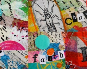 Inspirational  Word Collage collage   BOOKMARK in blue green pink andblack and white text by Jodi Ohl