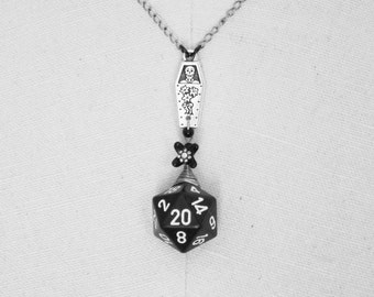 Mortifleur Casket Day of the Dead D20 Necklace, coffin, skeleton, black, silver, flower, D&D