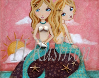 Mermaid Print - Sister Gift - Art Print- Mermaid Art - Mermaid Wall Art - (Sunset Mermaids -blonde/blonde) Print Sizes 8x10 and 5x7