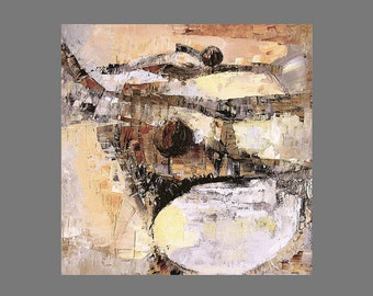Fine art print, small, from mid century modernist style abstract landscape painting, straw yellow, gold, grey
