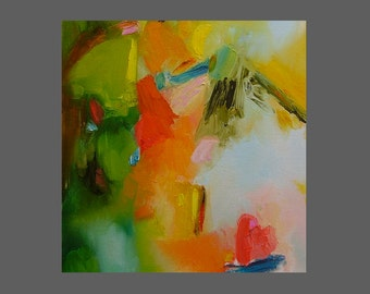 Abstract art painting, bright, colorful, small, green, red, blue, gold