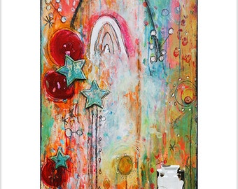 "Print- ""You Have the Key"" -Unlocking Possibility- Mixed Media Art, Manifestation, Rainbow, Colorful, Art, Magical, Kids Room, Happy, Secret"