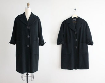 black wool coat / 1960s coat / 60s wool coat