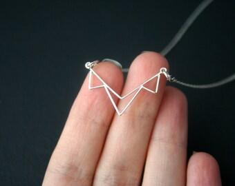 Sterling silver necklace - triple triangle- minimalist - geometric - mini bib necklace