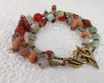 Double Strand Boho Gypsy Bracelet Southwest Colors