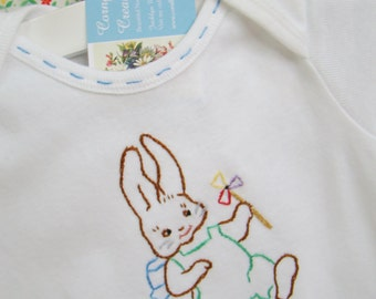 Pinwheel Bunny - Hand Embroidered Onesie (Ready to Ship)