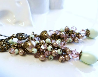 Long Pearl Earrings, Vintage Wedding Earrings, Pink Green Bronze Long Earrings, Pearl Cluster Earrings, Vintage Bride Jewelry