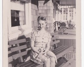 Our Front Porch - Vintage Photograph of 1940s Woman in Braids