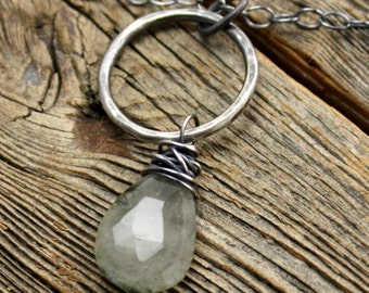 Misty Necklace in Sterling Silver and Tourmalated Quartz