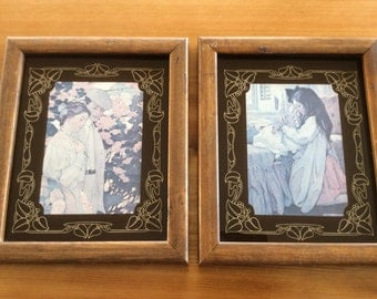 Art Nouveau Frames with Reverse Painted Mats, Jessie Willcox Smith Prints, Vintage Framed Art, Arts and Crafts Movement