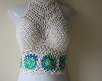 FESTIVAL TOP, crochet festival top, festival clothing, Boho clothing,  crochet halter top,  boho, gypsy clothing, hippie, beach cover up