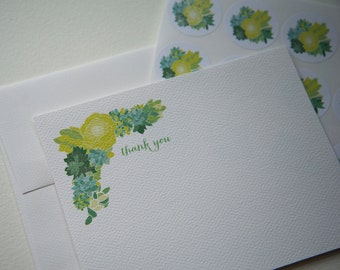 Green Succulents Personalized Stationery or Thank You Notes and Sticker Set