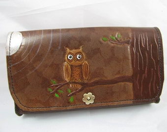 Leather Clutch Purse - What a Hoot - Owl
