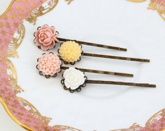 Pink, Yellow and White Hair Accessory,  Bobby Pins, Floral, Hair Pins, Vintage Wedding, Wedding Hair Accessories, Gift For Woman