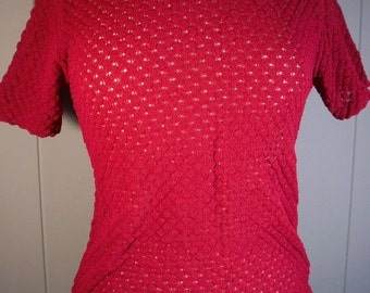 Vintage red short sleeve sweater top /1960s Fitted textured top