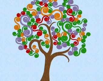 Tree with Spiral S Curls 5in x 7in machine embroidery file (130mm x 180mm)