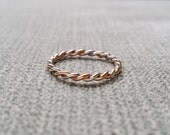Two Toned Rope Wedding Band Ring Vintage Antique14K Rose Gold and White Gold match All Rings Stacking Twist