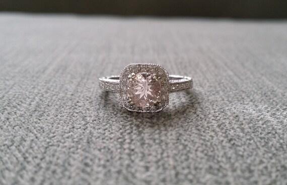 Items similar to Antique Halo Morganite Diamond Blush Gemstone Engagement  Ring Custom Peach Pink Cushion Round Halo Setting 14K White Gold Size on  Etsy