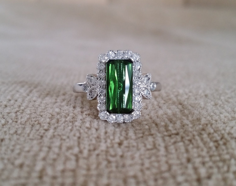 Emerald Halo Green Tourmaline Diamond Flower Gemstone