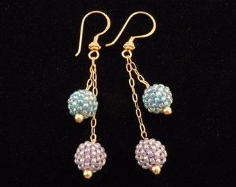 Beaded Earrings, Lavender Beads, Drop Chain Earrings, Dangle Earrings, Seed Bead Earrings, Beaded Bead Earrings, Chain Earrings,