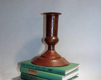 vintage hand hammered copper candle holder or flower vase craftsman style