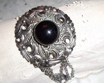 Antique Brooch with Black Stone