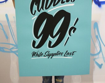 "Unlimited Cuddles 24""x36"" bright turquoise screen print poster"