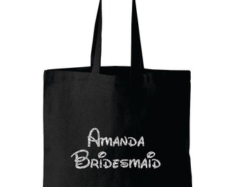 Personalized Disney font Bridesmaid tote bag Bridesmaids gift Maid of Honor flower girl