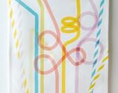 Party Straws Tea Towel - Fun print, bright colours, lots of love