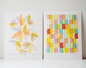 Set of 2 Geo Feast Art Prints. Geometric Colorful Print