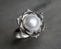 Pearl Lotus Ring, Sterling Silver Statement Ring, Luminous Lotus Flower, Natural White Pearl, Cocktail Ring, Handmade Silver Ring