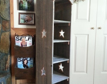 Farmhouse Shelf Country Bookcase Star Skinny Kitchen Shelf Storage Cedar Wood Shelf. Wooden Storage Shelf. Wood Furniture Wood Bookcase Star
