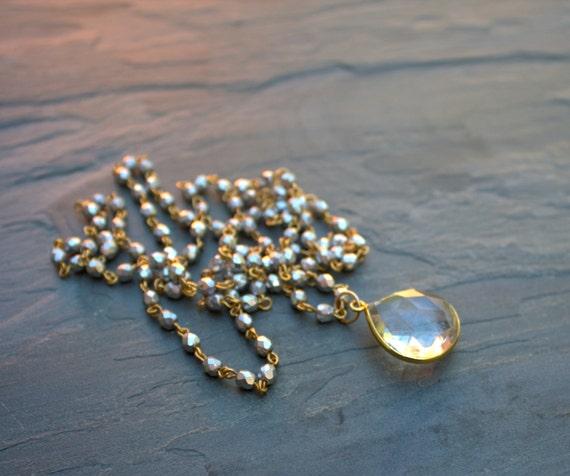 "Long Crystal Pendant Necklace, Crystal Quartz Long Beaded Necklace Long Silver Gold Bead Necklace Long Sparkly Necklace, Sparkly Jewelry 30"""
