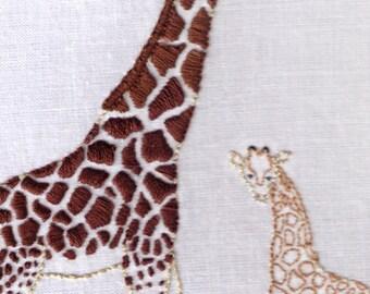 Giraffes Hand Embroidery Pattern, African, Mother, Baby, Giraffe, PDF
