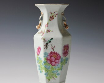 Fine Chinese Famille Rose Republic Period Flowers Poem Vase w/ Artist Seal, marked.