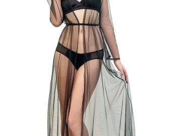 Clair de Lune robe in mesh and lace - sheer see-through black robe in netting with elastic waist and long full skirt, floor length
