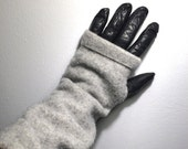 upcycled wool arm warmers / fingerless mitts / repurposed wool hand warmers / recycled sweater wrist warmers