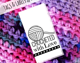 Printable PDF Craft Show Tags - Crocheted with Love Labels or Gift Tags
